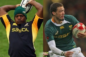 Chiliboy Ralepelle, left, and Bjorn Basson failed doping tests during South Africa's tour of Europe. Photo / Getty Images