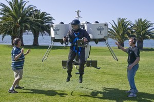The Martin Jetpack in action at it's first public demonstration in Waitangi. Photo / Supplied