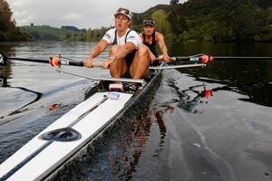 Rebecca Scown (left) and Juliette Haigh train at Lake Karapiro. Photo /  Christine Cornege