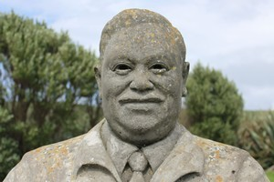 Statue of Tommy Solomon. The last full-blooded Moriori in the Chatham Islands. The statue was erected at a time where a Moriori revival started to gather pace. Photo / Jim Eagles