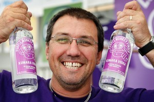 Brent King with his kumara vodka. Photo / Sarah Ivey