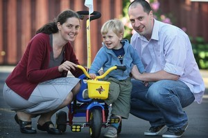 Clare and Aaron Wallis with their son Jacob. Photo / Greg Bowker