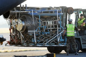 The jet engine arrives at Hokitika Airport. Photo / NZPA