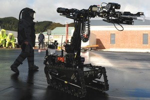 The Defence Force robot that entered the mine this morning. Photo / NZDF