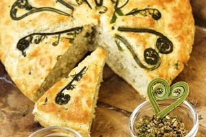 Pikopiko Takakau (Damper Bread with Fiddleheads). Photo / Supplied