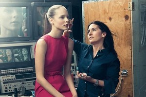 Bobbi Brown works on set with a model. Photo / Supplied
