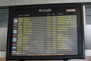 The arrivals board tells a story of delayed, cancelled and diverted flights. Photo / Natalie Slade