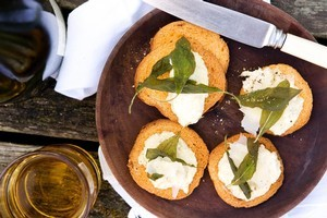 Fresh artichoke puree, pecorino and fried sage crostini. Photo / Babiche Martens