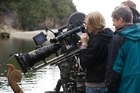 Director Andrew Adamson sets up a shot on the set of The Chronicles of Narnia: Prince Caspian. Photo / Phil Bray