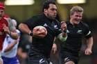 John Afoa of the All blacks runs through the Wales defence to score the last try. Photo / Getty Images