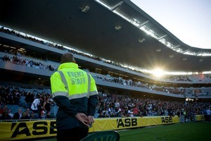 Rugby league security during the Four Nations rugby league test match between New Zealand and Australia played at Eden Park. Photo / Dean Purcell