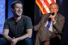 Facebook buddies - Mark Zuckerberg and George W Bush. Photos / Supplied