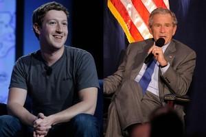Facebook buddies - Mark Zuckerberg and George W Bush. Photos / Supplied