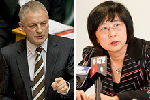 Phil Goff, left, and Pansy wong at her press conference today. Photos / Mark Mitchell, NZPA