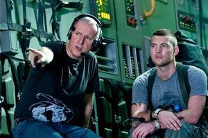 Avatar director James Cameron on set with actor Sam Worthington. Photo / Supplied.
