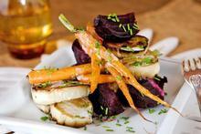 White eggplant, roast beetroot, baby carrots, coconut dressing. Photo / Babiche Martens