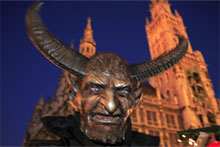 It's the medieval and gothic nature of the Krampus festival that attracts locals and tourists to the Alpine towns and cities of Europe, held every December. Photo / Nick Warren