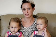 Aimee Moutray and her 18-month-old twins Arliyah (left) and Janade. Photo / Steven McNicholl