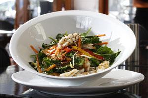 Calamari Salad at Takahe Restaurant and Bar in the Titirangi Village. Photo / Steven McNicholl
