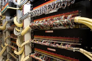 Broadband internet and telecommunications equipment inside the Mt Albert exchange, Auckland. Photo / Kenny Rodger