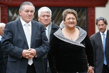 The Maori King Tuheitia Paki and his wife Te Atawhai. Photo / Greg Bowker 