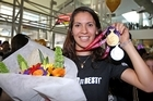 New Zealand squash player Joelle King with gold and silver medals after the Commonwealth Games in Delhi. Photo / Getty Images