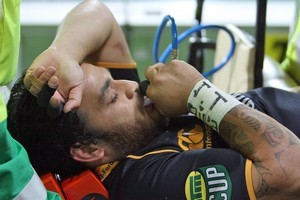 Piri Weepu is stretchered off injured from the field during the round 12 ITM Cup match between Wellington and Taranaki. Photo / Getty Images
