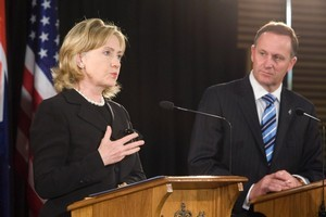US Secretary of State Hillary Clinton with NZ's Prime Minister John Key. Photo / Mark Mitchell