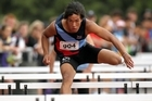 Joshua Hawkins of Sacred Heart College bettered his New Zealand 110m hurdles record at the New Zealand secondary schools track and field championships. Photo / APN