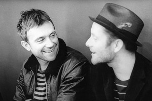 The virtual band Gorillaz created by Damon Albarn (left) and Jamie Hewlett along with two members of the Clash and a cast of guests will rock Vector in Auckland on Tuesday. Photo / Supplied