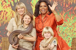 Oprah Winfrey poses with Terri Irwin and her children Bindi and Robert during the first taping of the Opera House show, before 6000 fans yesterday. Photo / Getty Images