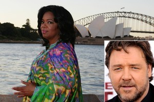 Oprah Winfrey at Sydney Harbour this weekend and inset, Russell Crowe. Photos / Getty Images, AP