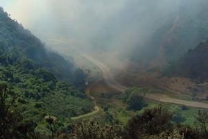 Smoke drifts across the Waimate Gorge during the bush fire. Photo / Alex Fensome