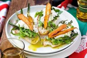 Ricotta, baby carrots, greens and lemons. Photo / Babiche Martens