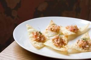 Sweet pickled shrimp open wontons with tomato, dill and coriander at Cafe Hanoi. Photo / Richard Robinson
