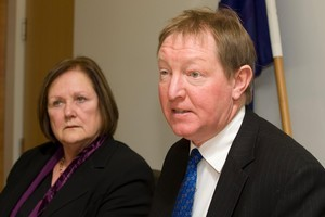 ACC Minister Nick Smith, with chief executive Jan White, during their press conference at the Beehive. Photo / Mark Mitchell