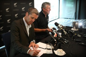 CEO of New Zealand Cricket Justin Vaughan, and new coach John Wright. Photo /Greg Bowker