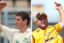 Adam Milne, left, and Luke Woodcock have been named in the Black Caps T20 squad. Photo / Hawke's Bay Today/Getty Images