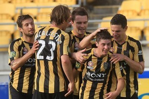 The Phoenix celebrate Marco Rojas' goal against the Newcastle Jets.  Photo / Getty Images