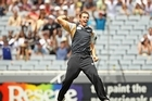Tim Southee of the Blackcaps celebrates his hat trick wicket of Umar Akmal of Pakistan. Photo / Getty Images
