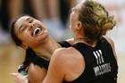 Maria Tutaia and Casey Williams celebrate golden goal overtime victory in the Netball final, New Zealand vs Australia at the 2010 Commonwealth Games in New Delhi, India. Photo / photosport.co.nz