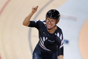 Alison Shanks winning Gold in the Women's Individual Pursuit Qualifying. Photo / Getty Images.