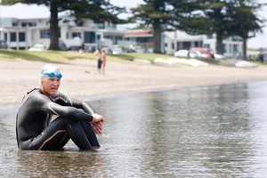 Peter Williams does his swim training at Pilot Bay, Mt Maunganui. Photo / Christine Cornege