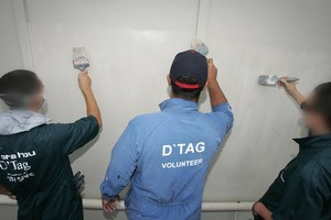 The three taggers have been cleaning up damage they caused to 27 Waipu businesses. Photo / APN