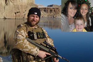 Chief Petty Officer Steve Clarke in Afghanistan and his wife Brooke and children Caitlin, 11, and Cooper, 4,  (inset). Photos / Supplied