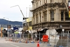 Damage to a building on Manchester Street following today's aftershocks. Photo / NZPA