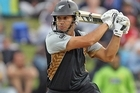 Ross Taylor of New Zealand cuts the ball away for four runs. Photo / Getty Images