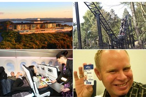 Clockwise from top, left: Eagles Nest retreat in Russell; Thirteen - one of the world's scariest roller coasters; Air New Zealand's Skycouch in action; frustrated flight attendant Steven Slater. Photos / Supplied and AP