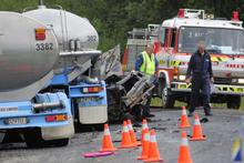 One person died in this collision between a milk tanker and a car. Photo / Monique Ford