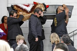 Pauly Fuemana's coffin is carried inside the church for his funeral service yesterday. Photo / Dean Purcell